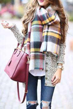 #winter #fashion / tartan scarf...