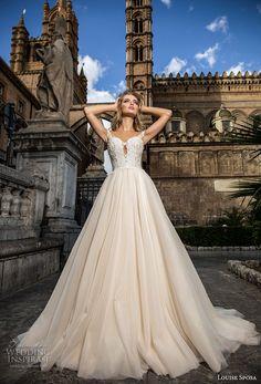louise sposa 2018 bridal cap sleeves sweetheart neckline heavily embellished bodice romantic a line wedding dress chapel train (10) mv -- Louise Sposa 2018 Wedding Dresses