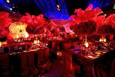 Light up decoration in the back and huge center pieces for moulin rouge theme Party Ideas, Event Ideas, Burlesque Theme Party, Gala Themes, Party Themes, Mindy Weiss, Great Gatsby Theme, Mod Wedding, Fiestas