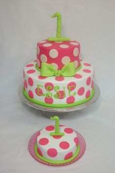 Spotted white, pink, and green cake