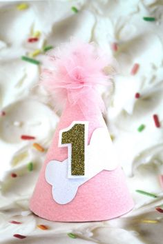 CUSTOMIZABLE Dog Bone MINI Birthday Cake Smash Party Hat   Headband in Pink  with Gold or Silver Glitter Number 0b28874ec95