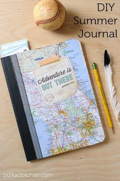"""DIY Summer Journal and Free """"Adventure is Out There"""" Printable"""