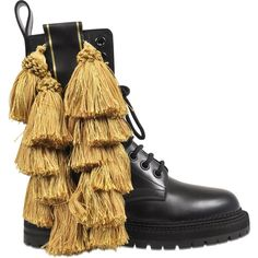 Burberry Tassel detail leather army boots ($510) ❤ liked on Polyvore featuring shoes, boots, black, military boots, black military boots, combat boots, army boots and leather boots