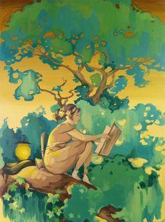 Reading in the tree.  (Matt Haber)