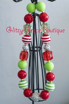 Christmas Chunky Bead Necklace  GlitzyGraceBoutique