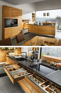 Wood kitchen cabinetry. Like many things: the built-in bench, the drawer organization, the amount of natural light. Though the countertop area appears somewhat less than one would imagine for a kitchen of this size.