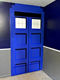 As Part Of My Sonu0027s Super Space Geek Bedroom, I Painted His Double Door  Closet To Look Like The Time Machine From Doctor Who, The TARDIS.