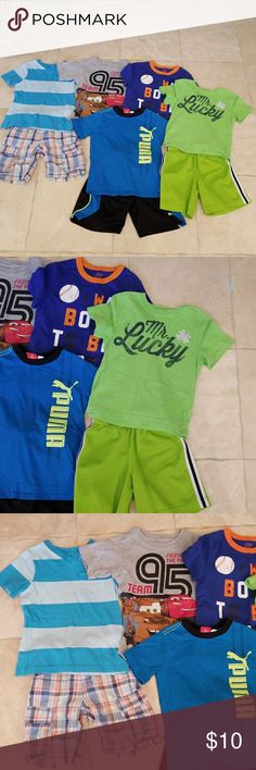 Boys shirts/shorts bundle size 3/3T Used in good condition,  5 shirts and 3 pairs of shorts. Super cute ready for Summer. Shirts & Tops
