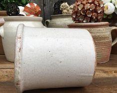Pot en Grès Emaillé Blanc, Charmant, Rustique France, Support d'Ustensiles, Jardinière, Shabby Chic, Décoration Française pour Cottage