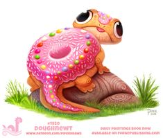 Daily Paint Doughnewt by Cryptid-Creations September 2019 Cute Food Drawings, Cute Animal Drawings Kawaii, Kawaii Drawings, Kawaii Art, Cute Fantasy Creatures, Mythical Creatures Art, Cute Creatures, Fruits Kawaii, Animal Puns