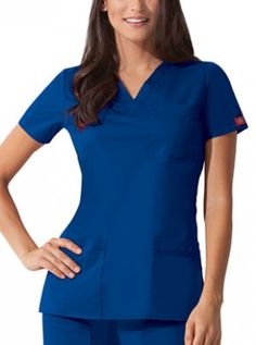 35ae5968113 82855 Dickies Gen Flex Women's Solid Stitch Scrub Top on model Scrub  Stores, Medical Uniforms