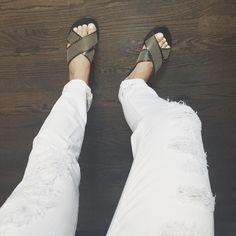 Current Elliott jeans + Ancient Greek Sandals