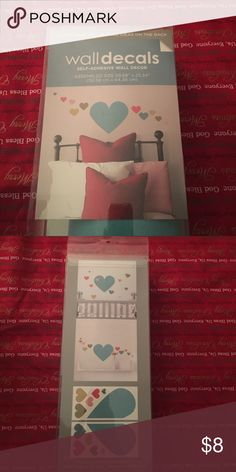 """Self-adhesive hearts wall decor Assembled size: 59.68""""x25.34"""". Never opened. Easy to apply. Repositionable. Package includes 2 sheets. Sheet size: 11.75""""x24"""" Accessories"""