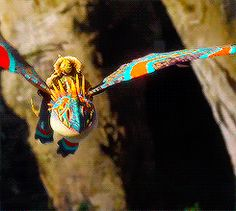Astrid on her dragon Stormfly in a dragon race.