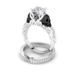 3 Ct White Round Diamond Engagement Wedding 925 Silver Two Tone Owl Face Ring