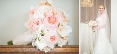 Blush and white bouquet of peonies.