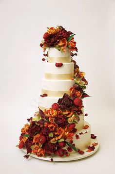 Autumnal Round Stacked Wedding Cake Ron Ben Israel