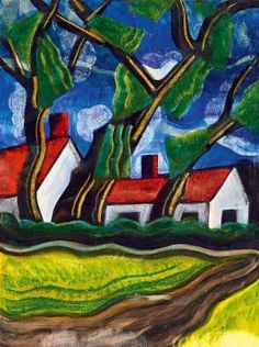 Scheiber Hugo, 1873-1950, Houses With Red Roofs
