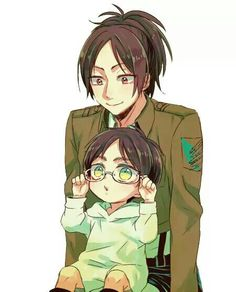 not Riren, but the factor of cuteness in this is well worth the pin. Hanji and baby Eren