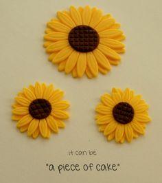 edible sunflower flower cupcake toppers fondant custom handmade on Etsy, $25.00