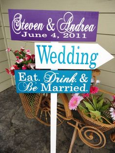 Wedding Signage, Handmade Wedding Directional Arrow Signs for your Wedding, Ceremony, Reception or Event.  Eat. Drink. & Be Married.. $114.95, via Etsy.