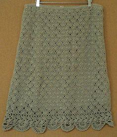size large J. Jill crochet SKIRT beige linen blend L crocheted