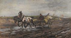 """Zygmunt Józefczyk - """"Pejzaż jesienny z furmanką"""", 1924"""