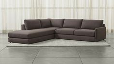 Drake 3-Piece Sectional Sofa - Gravel | Crate and Barrel