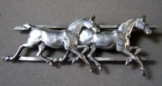 Vintage silver horse pin
