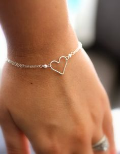 Silver Heart Bracelet, Eternity Bracelet, Sterling Silver Heart Charm with Pearls, Dainty Bracelet, Bridesmaid Gift, Silver Chain. $30.00, via Etsy.