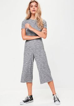Grey Ribbed Crew Neck Culotte Jumpsuit