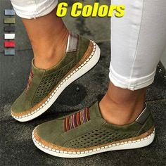 Buy Ladies Fashion Breathable Round Toe Hollow-Out Leather Loafers Shoes Sneakers Plus Size Women Casual Flats Shoes at Wish - Shopping Made Fun Moda Sneakers, Sneakers Mode, Casual Sneakers, Sneakers Fashion, Fashion Shoes, Shoes Sneakers, Shoes Men, Diy Fashion, Yoga Shoes