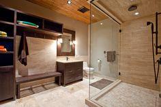 contemporary bathroom with glass shower