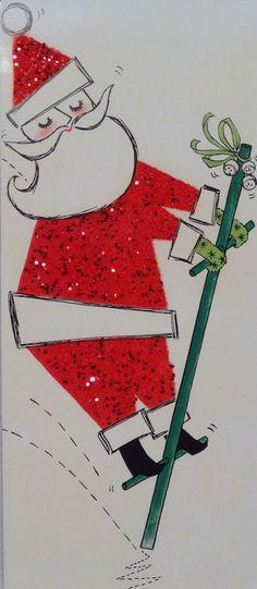 #656 50s Glittered Santa on Pogo Stick-Vintage Christmas Card-Greeting