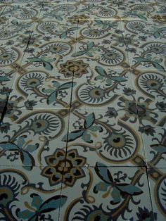 26.5 m2+ / 286 sq ft art nouveau French ceramic floor with double borders - The Antique Floor Company