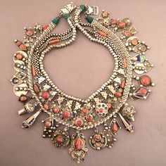 Kabyle silver, enamel and coral necklace from Algeria  more than 100 yrs old. © Micheal Halter.
