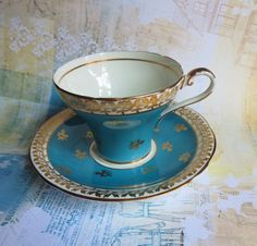Vintage English Bone China Teacup & Saucer, Aynsley Backstamp, Corset Shape, Unique Turquoise Blue with Gold Flowers