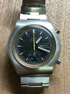 Montre Vintage Seiko Chronographe Automatique 6139 8020 Acier Jour Date Seiko Diver, Date, Omega Watch, Vintage, Ebay, Steel