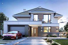 Projekt domu piętrowego Oszust 2 o pow. z garażem z dachem kopertowym, z tarasem, sprawdź!