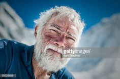 Stock Photo : A climber at Everest base camp the day after he has successfully summited Everest shows the signs of exposure at high altitude on his face