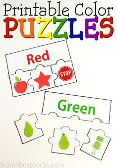 Online Coloring Games for toddlers New Printable Color Puzzles Free Printables Preschool Color Activities, Preschool Learning Activities, Preschool Printables, Preschool Activities, Free Printables, Activities For 3 Year Olds, Printable Puzzles For Kids, Preschool Kindergarten, Preschool Worksheets