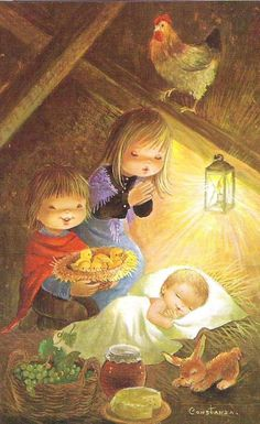 Regalos para el Niño Jesús - Constanza Navidad Christmas Nativity, Christmas Past, Christmas Crafts For Kids, Christmas Angels, Christmas Photos, Christmas Diy, Vintage Christmas Cards, Vintage Cards, Clipart Noel
