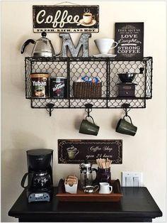 Ideas for diy apartment bar inspiration Coffee Bar Station, Coffee Station Kitchen, Home Coffee Stations, Coffee Nook, Coffee Bar Home, Coffee Corner, Coffee Bars, Coffee Maker, Coffee Machine