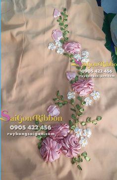 nhận thêu ruy băng số lượng lớn , thêu ruy băng trên trang phục, thêu ruy băng trên váy, thêu ruy băng trên đầm, thêu ruy băng trên túi xách...LH : 0905422456 Embroidery Saree, Shirt Embroidery, Hand Embroidery Stitches, Silk Ribbon Embroidery, Embroidery Fashion, Embroidery Patterns, Ribbon Art, Ribbon Design, Fabric Flowers