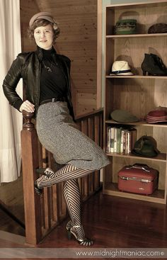 Striped Tights, Vintage Vogue, Modcloth, Style Me, Chevron, Stockings, Hipster, Normcore, Turtle Neck