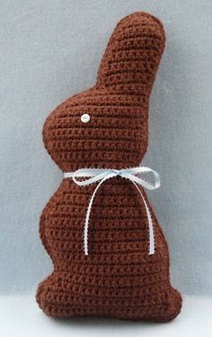 "Chocolate bunny pattern crocheted using Vanna's Choice yarn.  Nice ""healthy"" alternative for Easter gifts!"