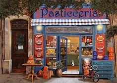 Shops Painting - La Pasticceria by Guido Borelli