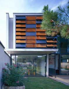 Clever sun controls on this house by architect Pierre Minassian of Architectes Urbanistes.