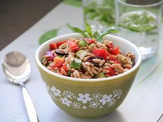 Chopped Mediterranean Salad with Orzo Recipe #MeatlessMonday
