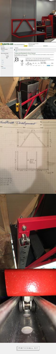 """Lift frame  1""""x2""""x.125"""" wall rectangular tubing about 30ft total 2 pcs of 20' Unistrut P100HS http://www.unistrutohio.com/products/p1000.html 4 unistrut trolleys http://www.mcmaster.com/#strut-channel-systems/=qcqae0 1 -5/16"""" u-bolt 4 - 5/16"""" eye bolts 2 - 30"""" chain lengths 2 - turnbuckles"""